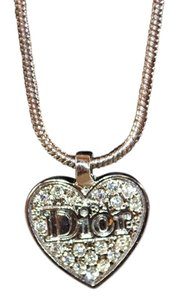 Dior Authentic Christian Dior Silver-Tone Crystal Heart Necklace