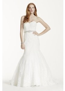 David's Bridal Petite Strapless Wedding Dress With Beaded Sash Wedding Dress