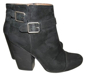 Lucky Brand Leather Suede Ankle Womens Black Boots