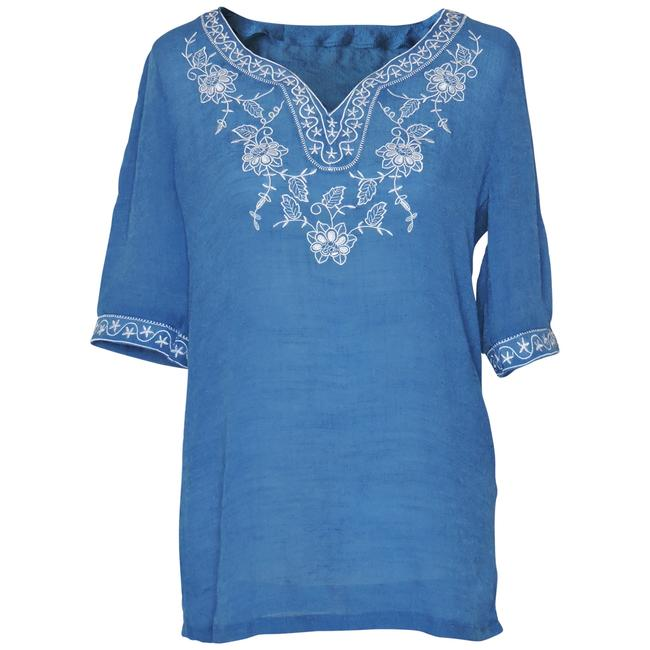 Preload https://item4.tradesy.com/images/blue-embroidered-blouse-with-floral-and-stars-design-collar-tunic-size-10-m-115603-0-1.jpg?width=400&height=650