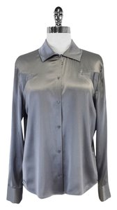 Joseph Grey Silk Button Down Long Sleeves Shirt