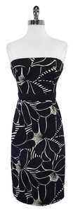 MILLY short dress Black White Silk Strapless on Tradesy