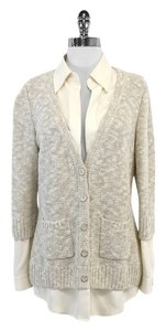 St. John Two Layer Oatmeal Knit Silk Cardigan