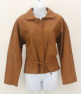 Anne Klein Anne Klein Saddle Leather Zip Front Drawstring Waist Blazer Lb