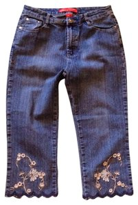 Cosmopolitan Cute Embroidered Capris Denim