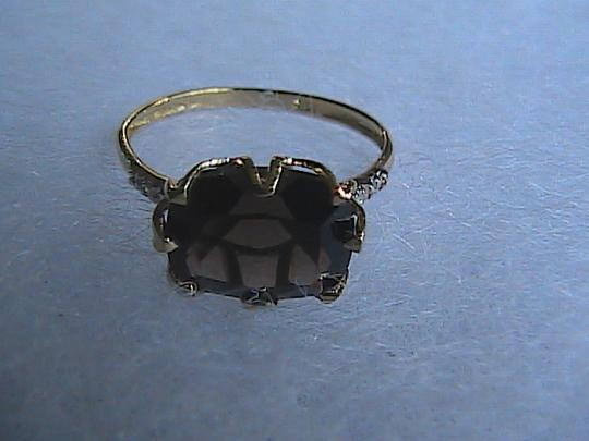 Other Gorgeous 3.0 cts 10k Solid Yellow Gold Cushion Cut Smokey Topaz & Diamond Ring (2)