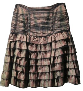 Nanette Lepore Falls Below The Knee Skirt Mauve Fabric/Black Netting