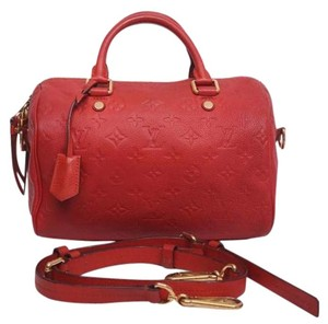 Louis Vuitton Speedy Bandouliere Empriente Strap Satchel in Red Orange