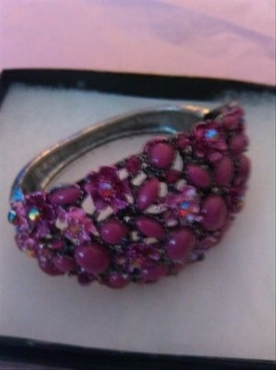 Other SALE!Pink Rhinestone Beaded Metal Cuff Bracelet Vintage