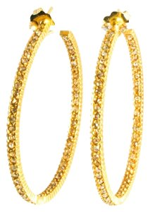 Yossi Harari Yossi Harari Yellow Gold Lilah Pave Cognac Diamond Large Hoop Earrings 1.5