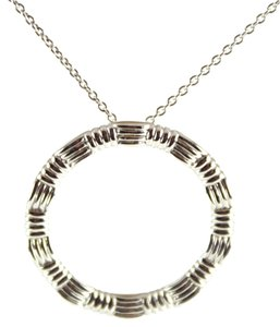 Roberto Coin ROBERTO COIN 18K White Gold Ridged Circle Pendant Necklace 16