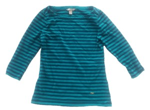 Banana Republic Boatneck T Shirt navy/teal stripe