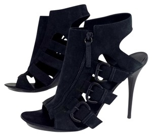 Giuseppe Zanotti Black Leather Strappy Heels Sandals