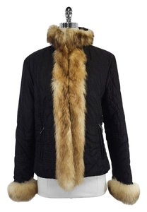 Iceberg Black Quilted Fur Trim Jacket
