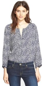 Joie 100% Silk Medium Work Casual Feather Detail Top Dark Navy