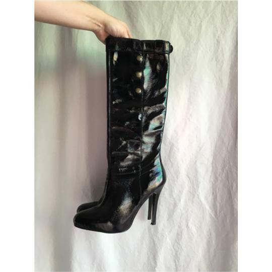 Steve Madden High Knee High Leather Patent Leather Real Patent Leather High Heels High Heel Patent Knee High Tall Patent Black Boots