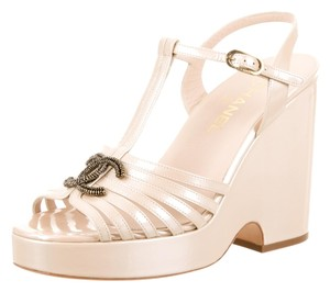 Chanel Nude Tan Ivory Patent Beige Sandals