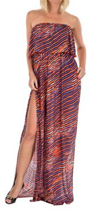 Orange and Blue Maxi Dress by Just Cavalli Beach Cover-up Summer Spring/summer Collection 2015 Made In Italy Italian Made Italian Designer Long Floor Length