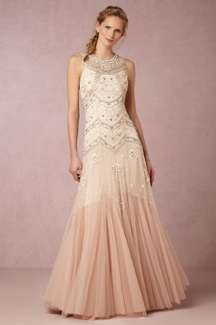 Item - Cream/Dust Pink Tulle Bhldn Cate Gown Vintage Wedding Dress Size 6 (S)