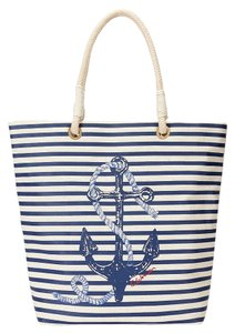 C. Wonder C. Nautical Canvas Anchor Cotton Boating Summer Yacht Carryall Carry Ivory Tote in Red, White and Blue