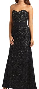 Badgley Mischka Black Lace Strapless Gown Dress