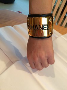 Chanel Vintage Leather Id Cuff Bracelet