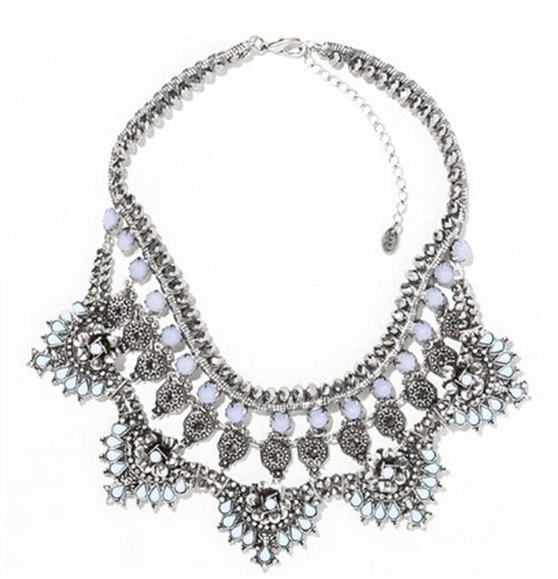 Item - Silver and Pale Blue Gypsy Bohemian Statement Bib Necklace