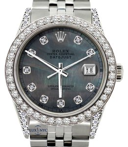 Rolex ROLEX MEN'S 5CT DATEJUST DIAMOND WATCH WITH ROLEX BOX & APPRAISAL