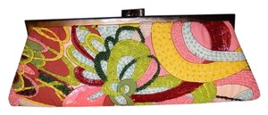Marco Santi Beaded Sequin 70's Print Colorful Multi Clutch