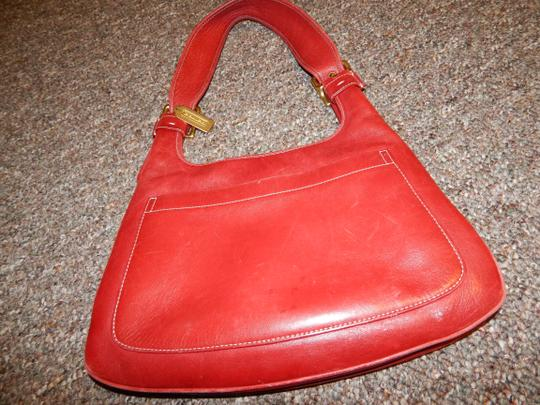 Coach Buckles Pockets Leather Tote in Red