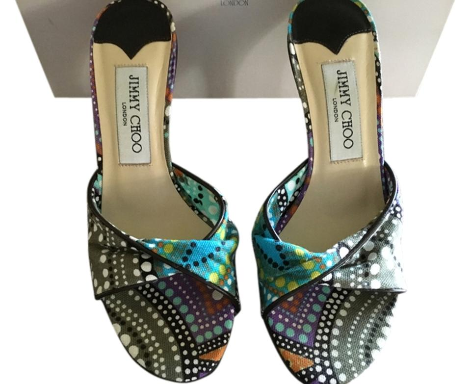 Jimmy Choo Multi Blue Brown Aqua Sandals White 03315196heylapa/Turquose/Printed Canvas Turquoise. Sandals Aqua 39e5d9