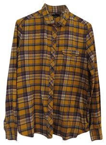 BDG Urban Outfitters Flannel Button Down Shirt Yellow