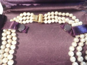 JC PENNYJeweler 14k Yellow Gold & Genuine Cultured Pearl 3 Row Design Necklace With Vintage Lock