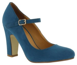 Red Circle Footwear Chunky Heel Mary Jane Blue Pumps