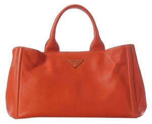 Prada Orange Leather Tote