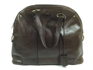 Saint Laurent Ysl Leather Muse Satchel in Brown