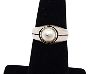 Lisa Jenks LISA JENKS Brushed Sterling Ring w/Pearl Center + Etching - Sz 6