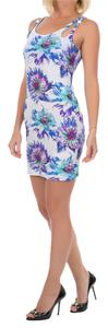 Just Cavalli short dress Blue and White Beach Cover-up Summer Floral Print Bodycon on Tradesy