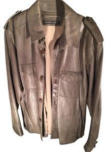 Marc New York Button Down Men's Brown Leather Jacket
