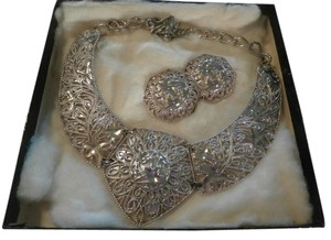 Jose & Maria Barrera Vintage Jose Maria Barrera Silverplated Necklace & Matching Earrings Signed Box