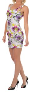 Just Cavalli short dress Purple and White Beach Cover-up Summer Floral Print Mini on Tradesy