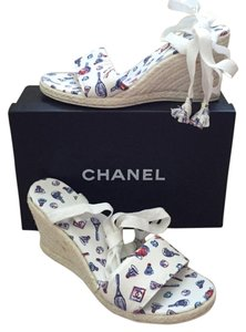 Chanel Espadrilles White Wedges