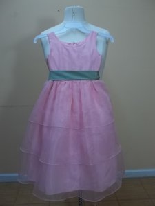Alfred Angelo Tea Rose/Celadon Organza 6345 Formal Bridesmaid/Mob Dress Size OS (one size)