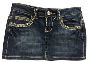 Miss Chic Jeans Denim Studded Bling Embellished Rodeo Western Cowboy Mini Skirt