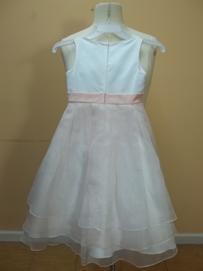Alfred Angelo White/Pink Satin 6520 Formal Bridesmaid/Mob Dress Size OS (one size)
