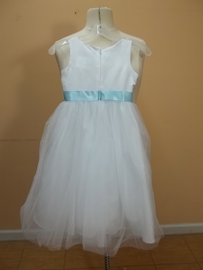 Alfred Angelo White/Robin's Egg Blue Satin 6530 Formal Bridesmaid/Mob Dress Size OS (one size)