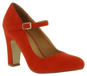 Red Circle Footwear Chunky Heel Mary Jane Orange Pumps