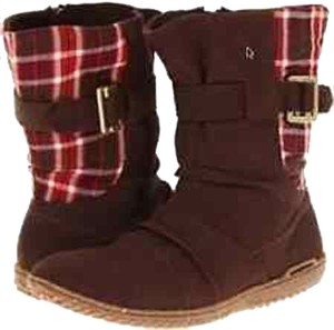 Patagonia Red Plaid Panel espresso brown Boots