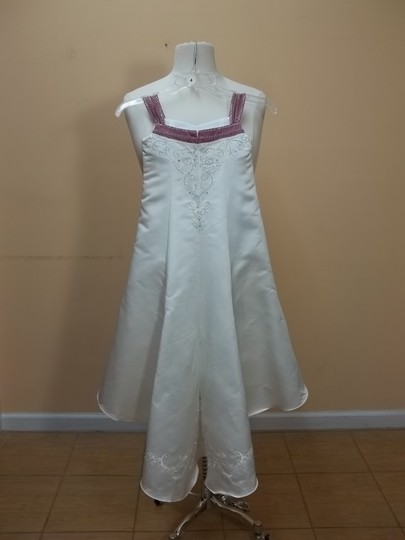 Alfred Angelo Ivory/Sugar Plum Satin 6596 Formal Bridesmaid/Mob Dress Size OS (one size)