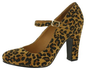 Red Circle Footwear Chunky Heel Mary Jane Leopard Pumps